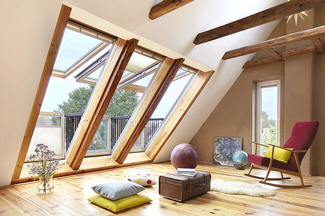 Replace your dormer with a skylight, Turn your attic skylight into a balcony with a VELUX Cabrio Balcony Roof Window