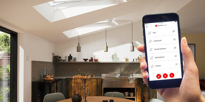 VELUX ACTIVE with NETATMO is the easy way to a healthier indoor climate. Smart sensors continuously monitor the temperature, humidity and CO2 levels in your home and open or close your skylights and blinds to create a healthier indoor climate.
