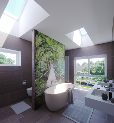 Before and After Bathroom renovation with a skylight